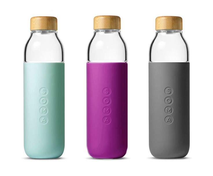 Soma Launches a Glass Water Bottle I love the simple design of the packaging and logo on the bottle