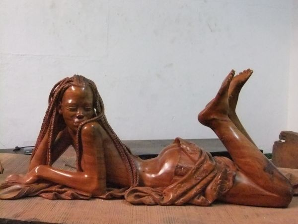 Charming sexy nude women wood carvings