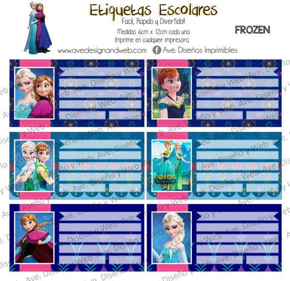 Frozen Etiquetas para Cuadernos Frozen Ana por AVeDisenoImprimible