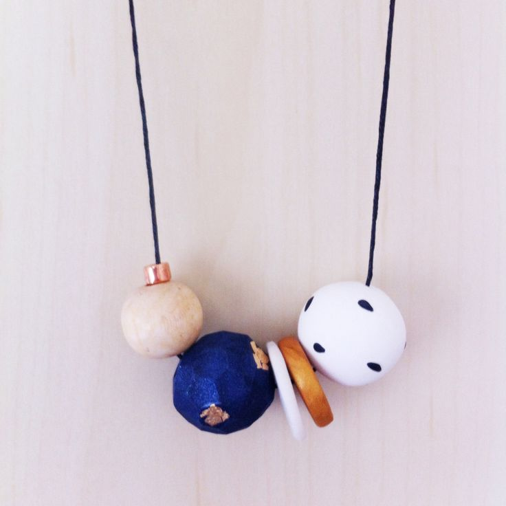 Cora - Handmade Polymer clay Necklace, 5 bead, adjustable cream waxed cotton cord featuring copper bead by onthedotdesign on Etsy