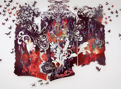 Paintings on intricately cut panels by Resa Blatman.