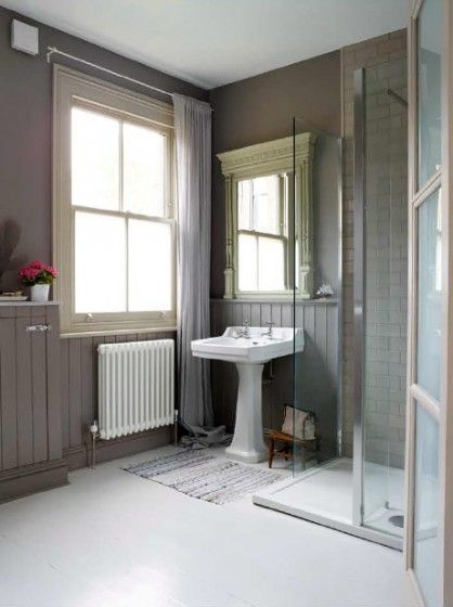 Victorian House London. Tongue & groove panelling painted in Moles Breath in the shower room, linen curtains, glass shower screen and painted wooden floorboards. Interior Design by Imperfectinteriors.co.uk