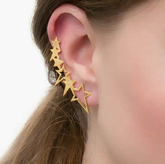 Stars αυτί σφαλιάρα Σκουλαρίκια, 925 στερεά ασήμι, χρυσό Υποαλλεργικό μανσέτα αυτί, χρυσό ερπυστριοφόρο αυτί, χρυσό αυτί ορειβάτης σκουλαρίκι, 18Κ επιχρυσωμένο