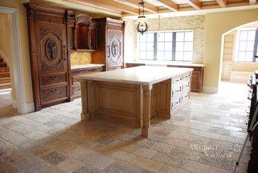 Kitchen Stone Floors Mediterranean Style - mediterranean - Kitchen - New York - Ancient Surfaces