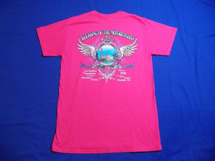Blessing of the Motorcycles Bikes 2013 Fresno CA Shirt Women's M Medium Hot Pink #Gildan #GraphicTee