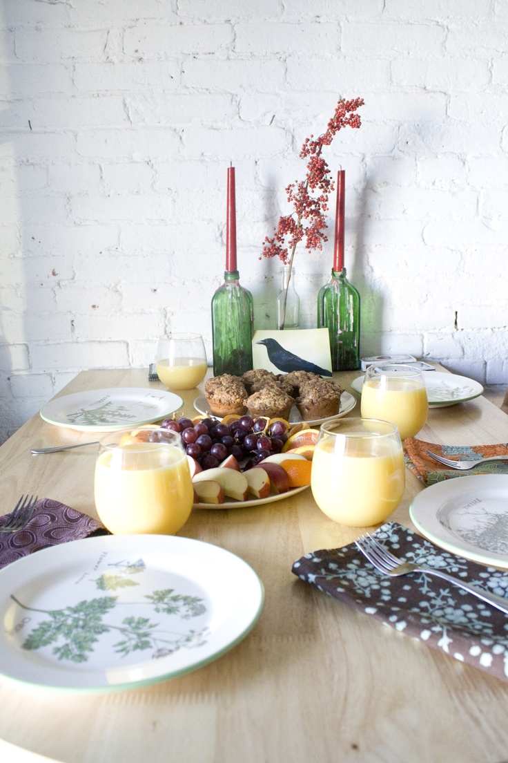 muffins & mimosas for Julia (postcard raven courtesy of Nicola!)