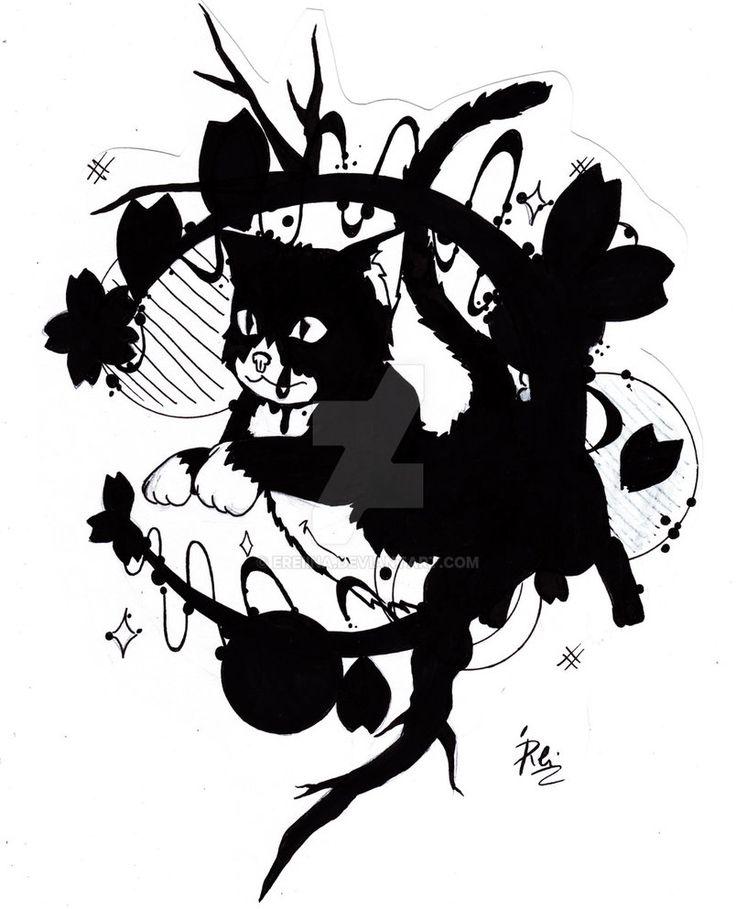 Kitten And The Moon by eREIina.deviantart.com on @DeviantArt