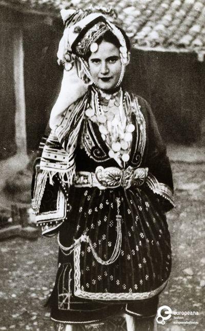 Photo of a woman wearing the bridal or festive costume of Episkopi, Imathia, Macedonia.Creation Date: 1800/1899.Institution: Peloponnesian Folklore Foundation Provider: Europeana Fashion Providing Country: Greece