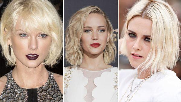 """Taylor Swift, Jennifer Lawrence y Kristen Stewart embajadoras de este tono 'helado"""". En sus tres versiones lob, con flequillo, con raya al costado y al medio, siempre con ondas"""