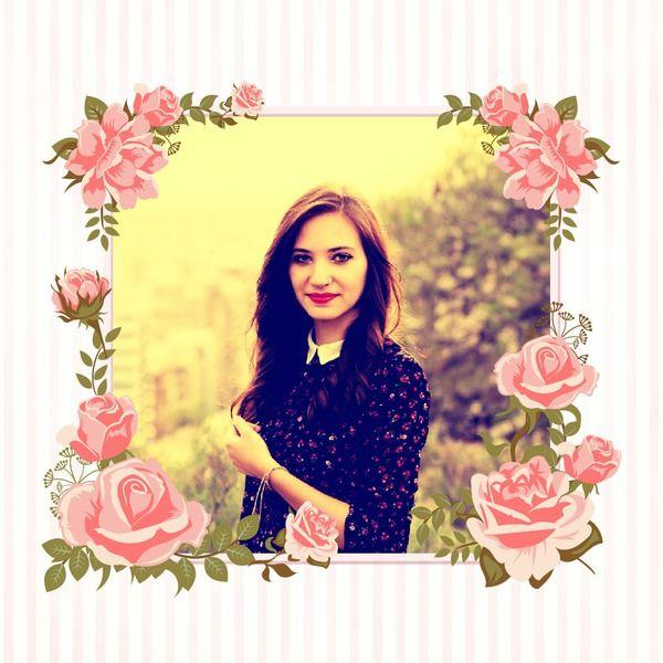 Fotomontaggio Cornice con rose - Pixiz
