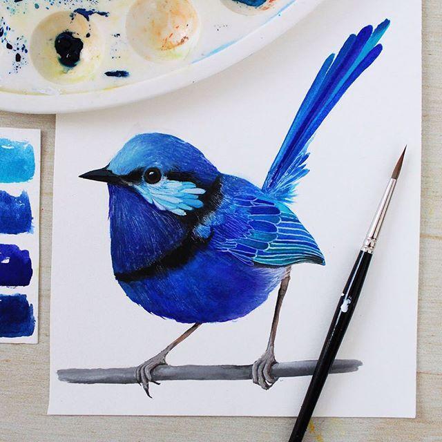 The indigo coloured bird is finished! It's another little wren, this one is a Splendid Fairy Wren - they're a beautiful Australian bird! Follow @PRINTSPIRING on Instagram: www.instagram.com/printspiring