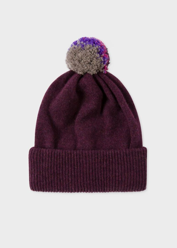 Paul Smith Men's Plum Lambswool Knitted Bobble Hat