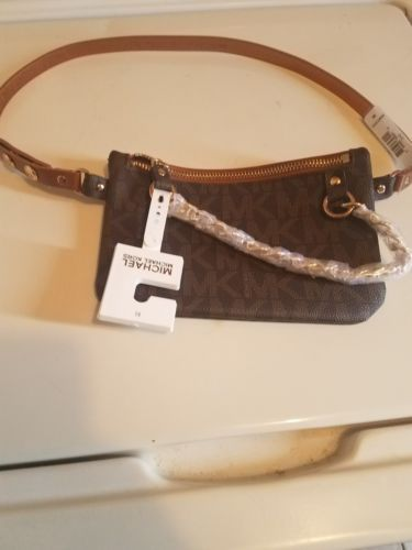 fa66935eeadd00 MICHAEL KORS MK Signature Fanny pack belt Bag brown Size Med NWT ...
