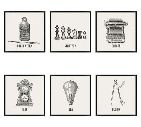 Vintage Office Icons Framed Prints | Pottery Barn