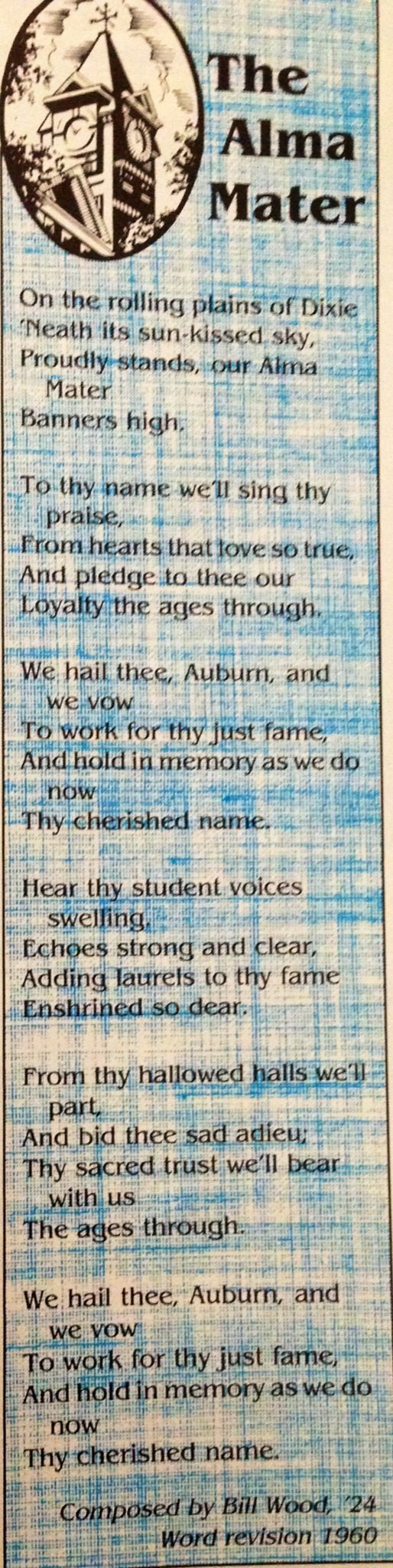 My Alma Mater. Auburn University college of education class of '92.