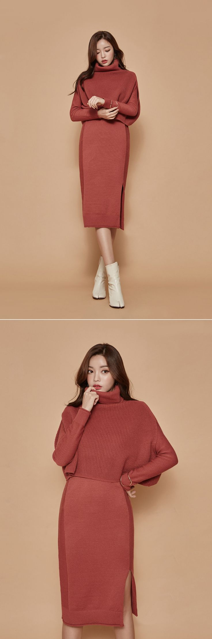 Knit Side Slit Dress and Funnel Neck Sweater Set CHLO.D.MANON | Shop feminine & adorable Korean clothing, bag, shoes, acc for an instant charm!