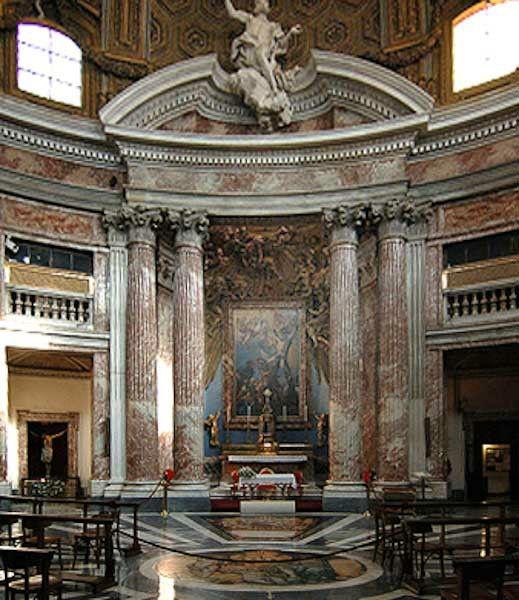 Iglesia de San Andrea del Quirinale, altar mayor. Roma Italia