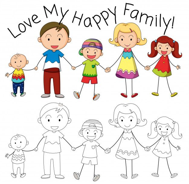 Download Doodle Family Member Character For Free In 2020 Family Drawing Drawing For Kids Art Drawings For Kids
