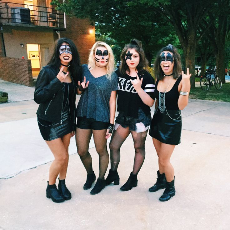 Halloween Costume DIY, KISS Costume, Girls KISS Costume, Leather Costume, KISS Face Paint, College Halloween Costumes, 2017 costumes