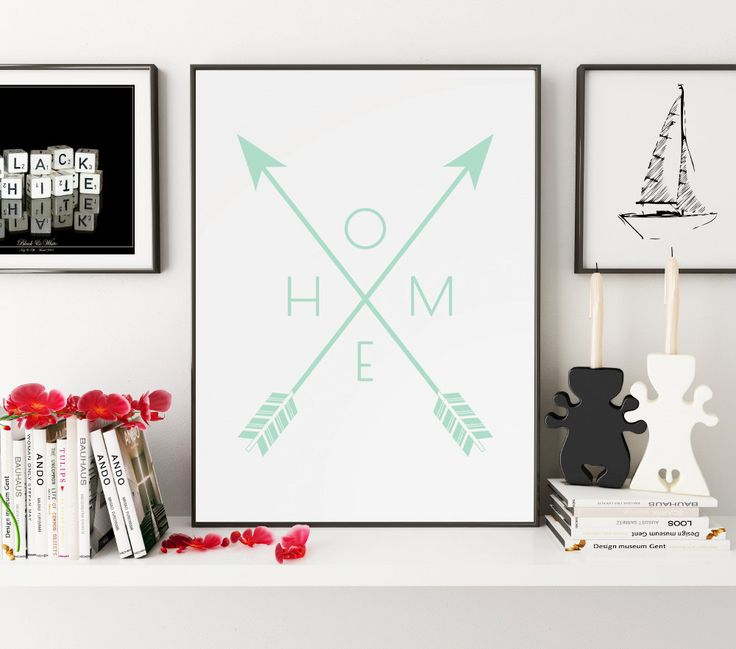 Mint Home Arrow Print, Wall Prints, Printable Wall Art, Home Print, Downloadable Wall Prints, Arrow Art, Digital Art, Prints