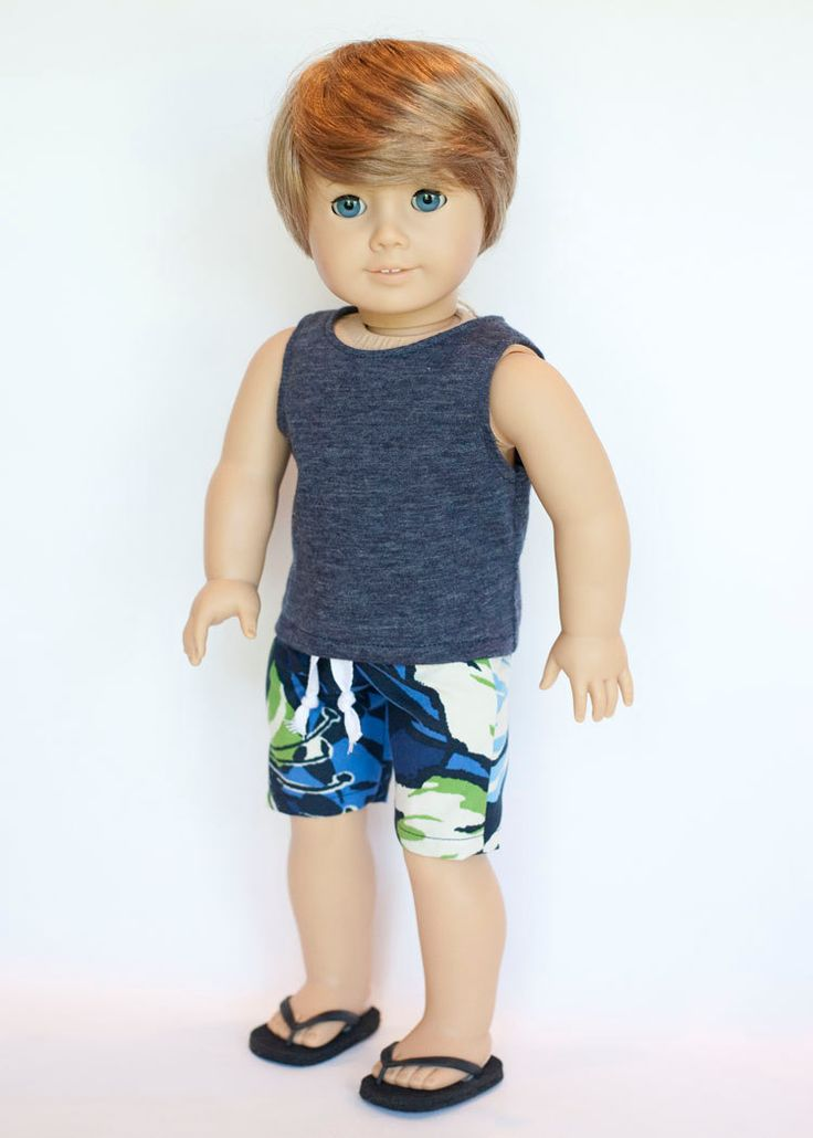 American Boy doll upcycled swimming trunks, blue tank top and flip flops by EverydayDollwear on Etsy