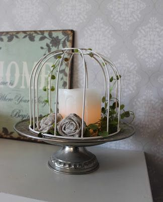 Remake a birdcage from an old lampshade. Toregårds lilla Lotta
