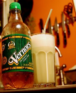 Boston Cooler: Vernors (ginger ale) and vanilla ice cream blended together. So good! VERNORs Ginger Ale Company ~ Flint, Michigan.