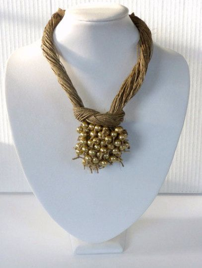 Golden Pearls Macrame Necklace Linen Necklace Natural Necklace