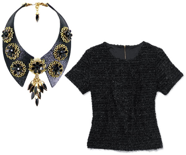 Outfit Ideas: Sweaters & Statement Necklaces For Spring 2013 - FLARE  The Necklace: Jewellery By Karen collar with gold flower detail and pendant, $425, jewellerybykaren.com