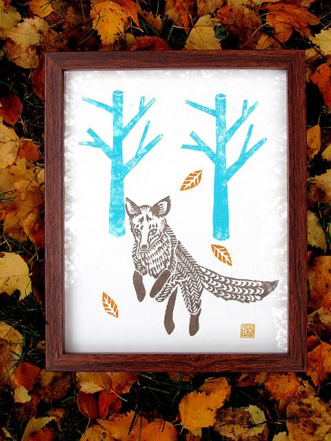 Jumping fox lino print by Meadowlark Prints