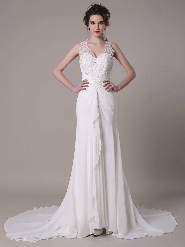Robe de mariée en satin robe ornée d'appliques robe à traîne watteau [#ROBE2012977] - robedumariage.com