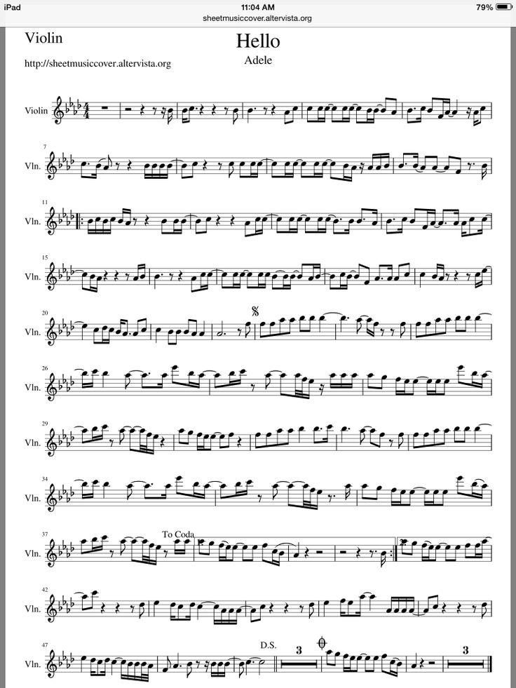 Adele - Hello violin sheet music                                                                                                                                                                                 More