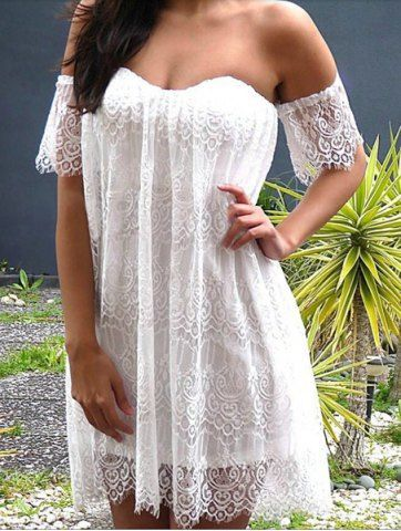 Sexy Off-The-Shoulder Short Sleeve Solid Color Lace Women's Dress Lace Dresses | RoseGal.com Mobile