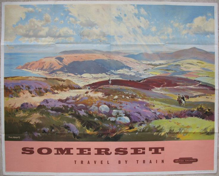 Somerset - Travel by Train, by Jack Merriott. A fabulous expansive view from Exmoor down to the west Somerset coastal areas. There is also a lot of activity, with sheep, walkers and horse-riders, as well as the purple heather, and the wonderful depiction of sunlight through the clouds leaving shadows on the fields. Original Vintage Railway Poster sold by originalrailwayposters.co.uk