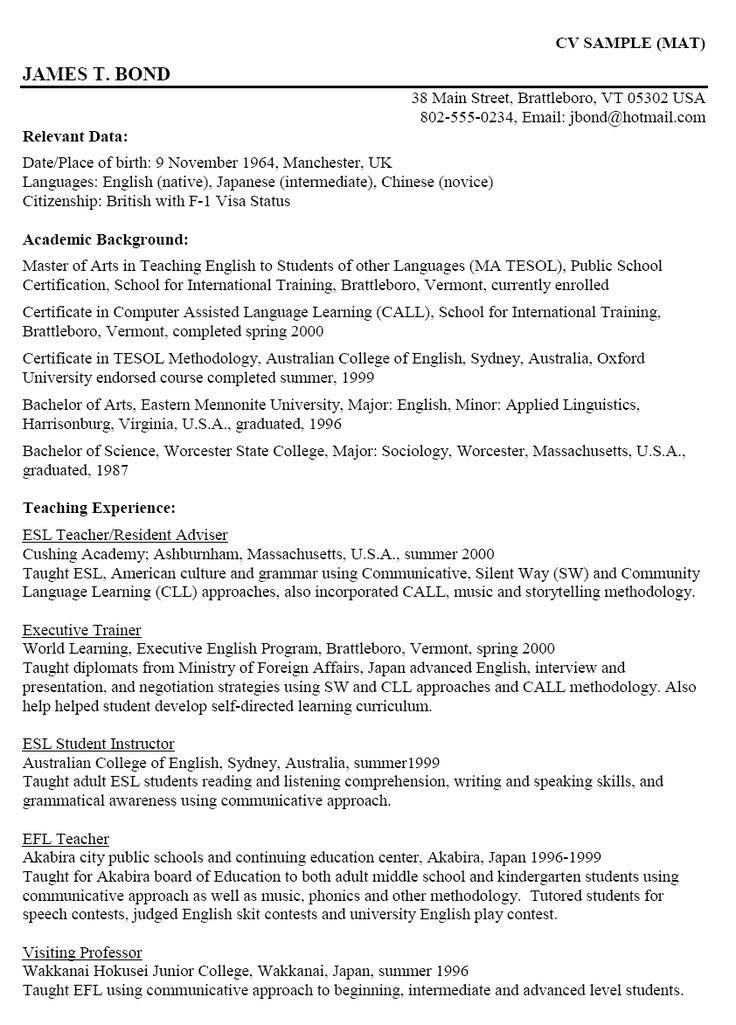 resume template for graduate school application