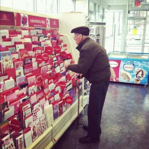 """So today I was in Hallmark buying my mom a Happy Birthday card, when I noticed this old man standing in front of the Valentines card section deciding which one to get. I decided to go over and I ask him, Are you getting a Valentines Day card for your wife? In which he replies, ""No my wife died 3 years ago from breast cancer, but I still buy her roses and a card and bring them to her grave to show her that she was the only one that will ever have my heart"". --Can you say AW: Valentine'S Day, Old Mans, Old Men, Breast Cancer, True Love, 3 Years, Happy Birthday Cards, Valentines Cards, Valentines Day Cards"
