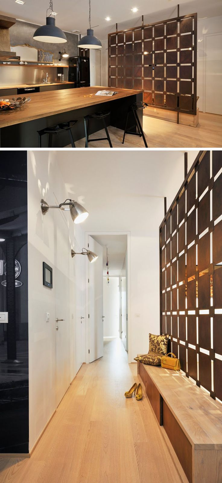 15 Creative Ideas For Room Dividers // Artistic geometric wall panels divide the entry way and kitchen in this Slovenian apartment.
