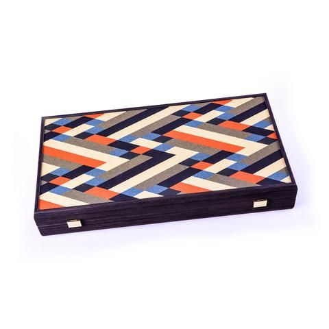 Handcrafted Creative Backgammon - Colorful Diagonal Lines