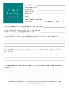 Student Inventory: College Level (Editable)