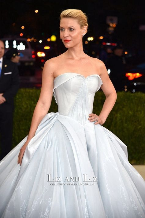 a8aa00196 Claire Danes Baby Blue Strapless Ball Gown Met Gala 2016 Red Carpet ...