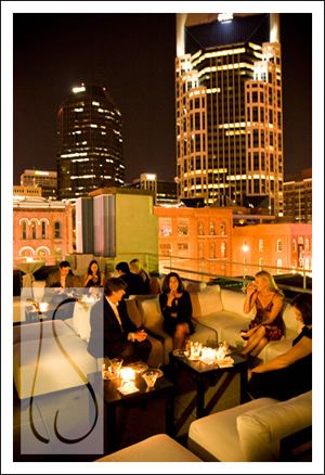 Downtown Nashville Wedding Rooftop Aerial