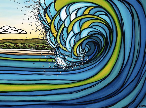 original surf art from the North Shore of Oahu, Hawaii by Californian surf artist Heather Brown who works with acrylics on canvas and silkscreen prints.