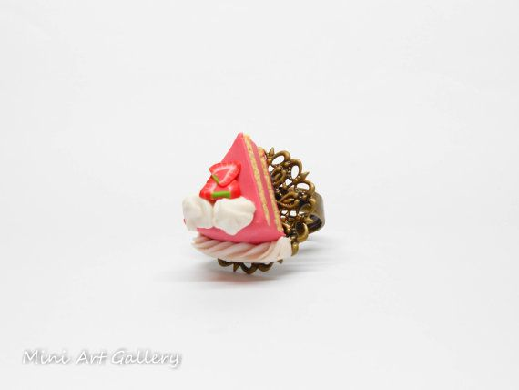 Strawberry cake ring / pink piece of cake / mini food charm / miniature fake food ring / kawaii sweet dessert / handmade polymer clay.  © Mini Art Gallery