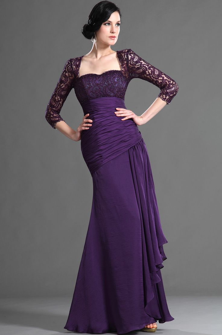 eDressit Elegant Purple Sleeves Mother of the Bride Dress