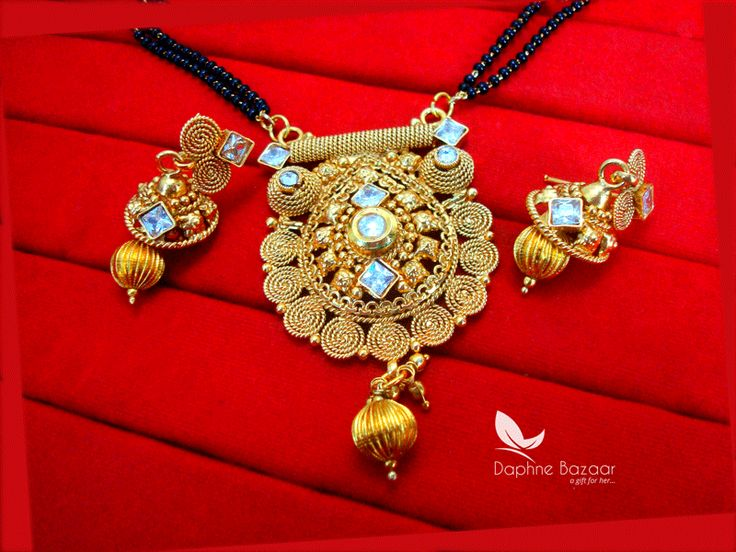 S79, Daphne Handmade Golden Mangalsutra Set With Earrings for Women, Gift for Wife