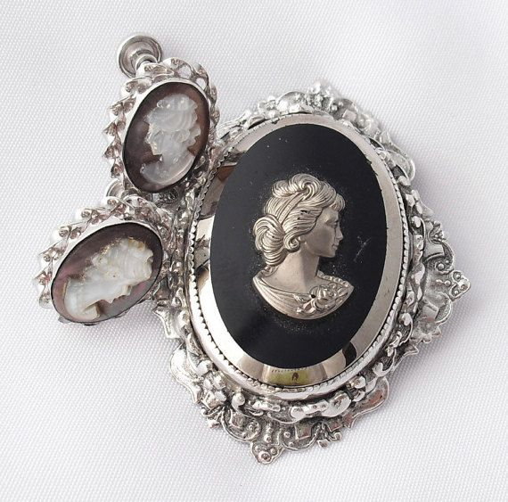 Glass Cameo Brooch Vintage Uncas MOP Sterling by BuyVintageJewelry