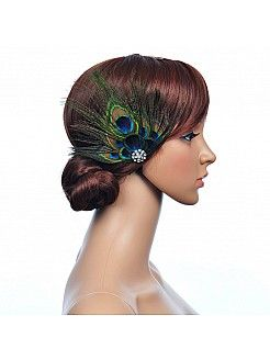 Peacock Blue Rhinestoned Feather Hair Flower - USD $9.99