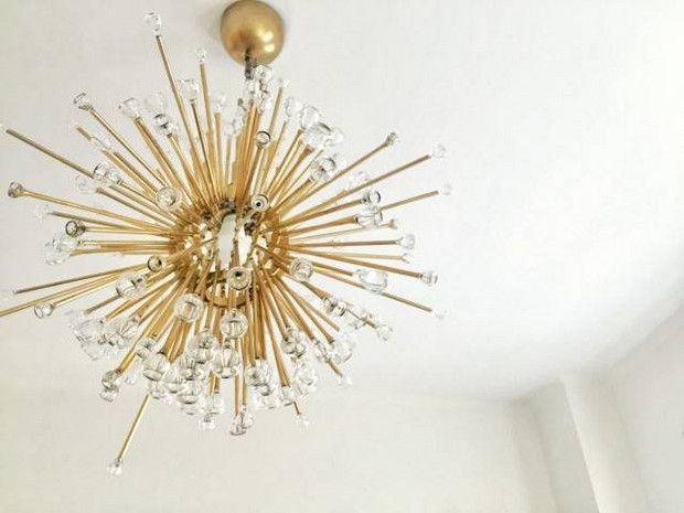 ikea hacks spiky gold chandelier tutorial