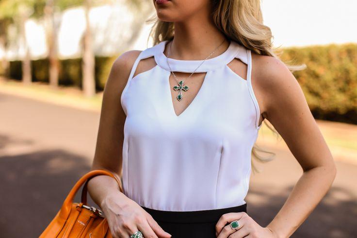Marina Casemiro, look do dia, P&B, saia rodada, blusa, decote, recortes, sandália, bolsa, laranja, coach, zaus boutique, ribeirão preto, fashion blogger -3