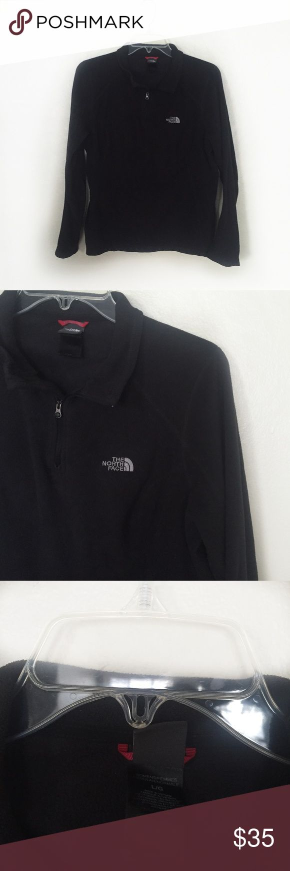 The North Face Fleece Jacket - Black - Size L North Face Women's Sweater  - Quarter zip jacket by North Face - Women's size large  - Excellent condition with no flaws - Color: Solid black - Offers considered! The North Face Jackets & Coats Utility Jackets